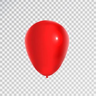 Realistyczny czerwony balon do świętowania i dekoracji na przezroczystym tle. koncepcja wszystkiego najlepszego, rocznicy i ślubu.