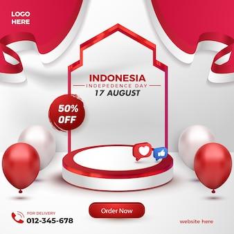 Realistyczny czerwony biały produkt na podium na indonezyjski dzień niepodległości szablon ulotki sprzedaży flash