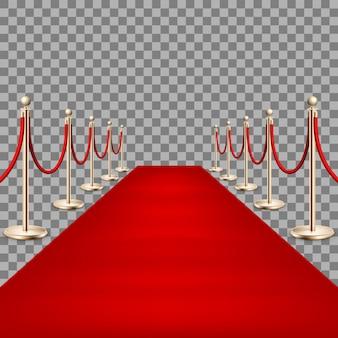 Realistyczny czerwony dywan między barierami linowymi.