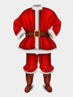 Realistyczny czerwony kostium świętego mikołaja na boże narodzenie ilustracja
