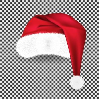 Realistyczny czerwony tradycyjny kapelusz świętego mikołaja