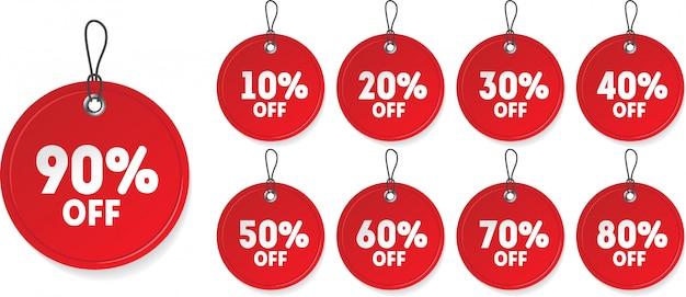 Realistyczny czerwony znacznik ceny sprzedaży. znak zniżki z różnymi procentami