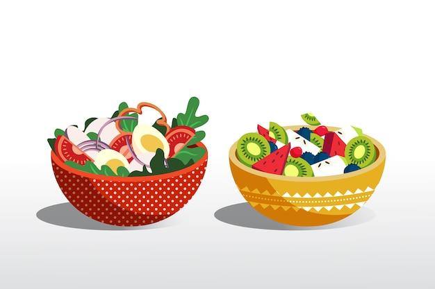 Realistyczny design misek z owocami i sałatkami