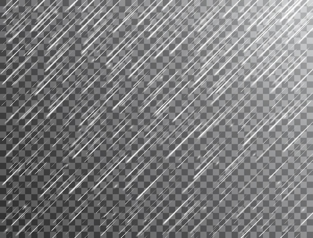 Realistyczny deszcz na przezroczystym tle