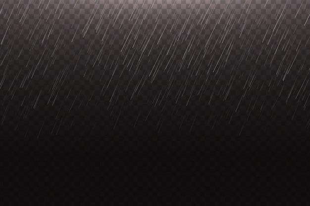 Realistyczny deszcz wodny na przezroczystym tle do dekoracji i pokrycia.