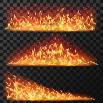 Realistyczny długi ogień. poziome jasne płomienie i iskry flary dla efektu palenia. elementy ognia ognisko na banery, na białym tle wektor zestaw. ilustracja płonąca flara, zapalać ognisty, niebezpieczeństwo czerwony ogień