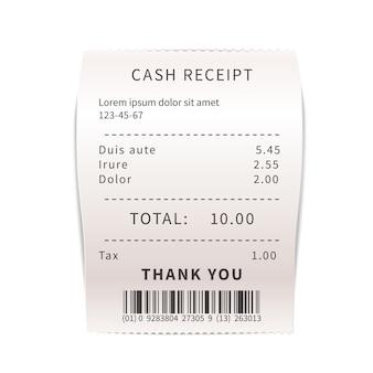 Realistyczny dowód sprzedaży, biały rachunek za zakupy z tekstem. papierowy czek finansowy na bielu