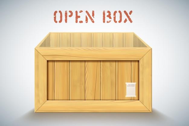 Realistyczny drewniany duży pojemnik z otwartą pokrywą