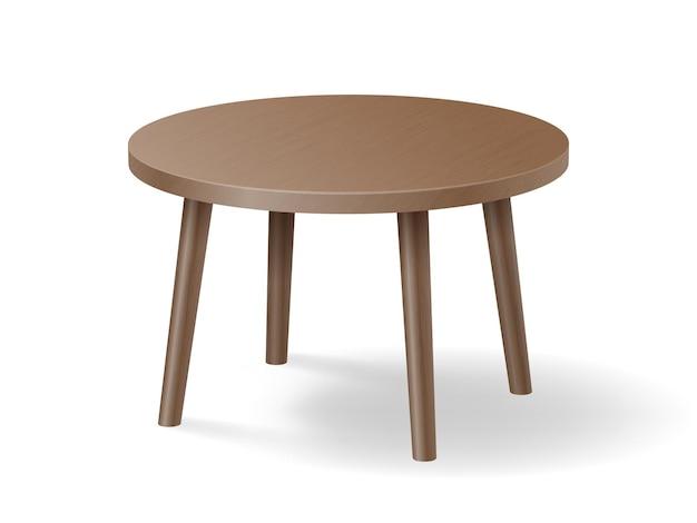 Realistyczny drewniany okrągły stół na białym tle. brązowy stół z drewna z cieniem.