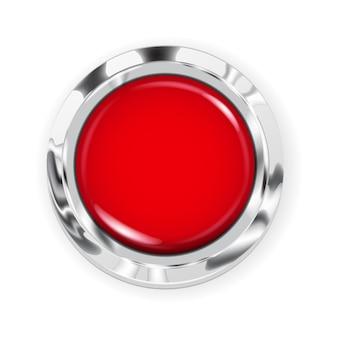 Realistyczny duży czerwony przycisk z metalową obwódką