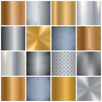 Realistyczny duży zestaw metalowych tekstur