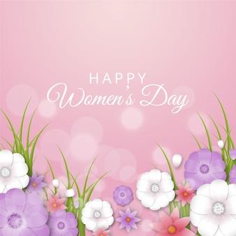 Realistyczny dzień kobiet z kolorowymi kwiatami