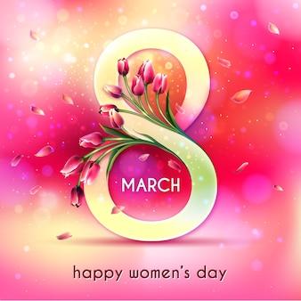 Realistyczny dzień kobiet z tulipanami