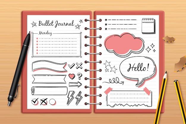 Realistyczny dziennik punktorów z rysunkami doodle