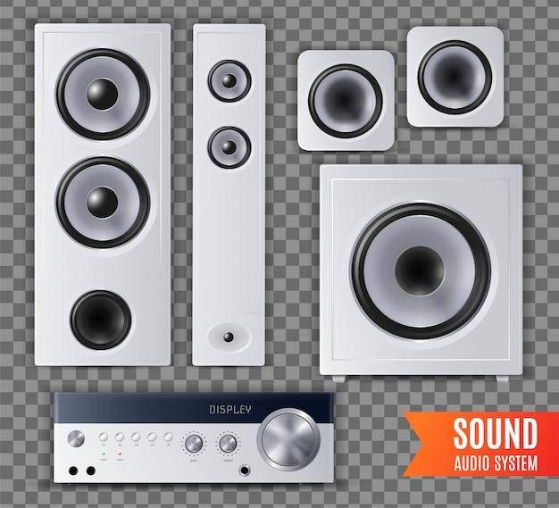 Realistyczny dźwiękowy system audio przezroczysta ikona zestaw z inną ilustracją kształtu i wielkości