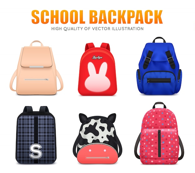 Realistyczny edukacja szkolna plecaka torby bagaż ustawiający sześć odizolowywających szkolnych plecaków różna kształta i koloru wektoru ilustracja