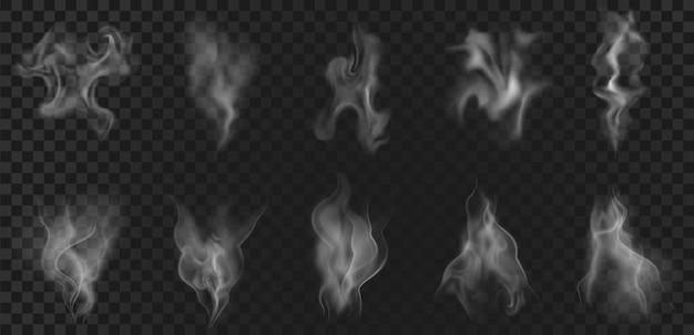 Realistyczny efekt pary gorącej kawy, oparów żywności lub dymu. streszczenie fale zapachowe, pary herbaty, mgła wiruje, przepływ mgły i wektor zestaw elementów zamglenia. opary z napoju lub naczynia, fajki wodnej lub papierosa
