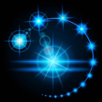 Realistyczny efekt rozbłysku blasku, jasność sztucznego źródła światła. energia wyładowań elektrycznych.