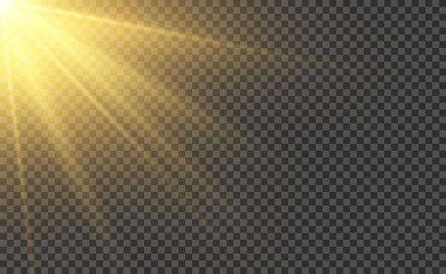 Realistyczny efekt światła słonecznego. promień światła lub promień słońca. ilustracja wektorowa błyszczący magiczny zachód słońca.