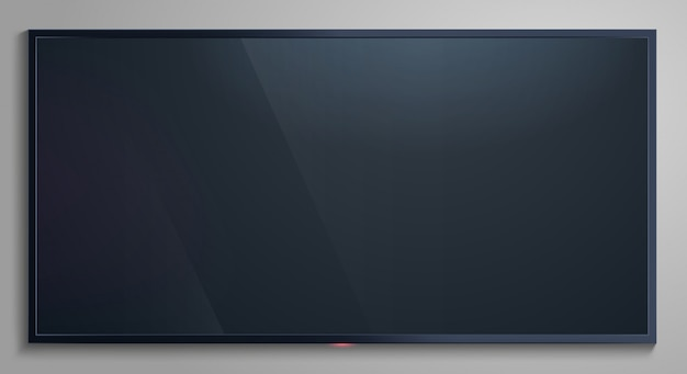 Realistyczny ekran telewizora. nowoczesny pusty wyświetlacz lcd, makieta ekranu monitora telewizyjnego, ilustracja panelu lcd. ekran telewizora realistyczny, telewizor led pusty