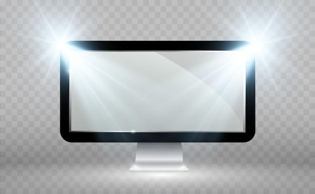 Realistyczny Ekran Telewizora. Nowoczesny, Stylowy Panel Lcd. Duży Wyświetlacz Monitora Komputerowego. Premium Wektorów