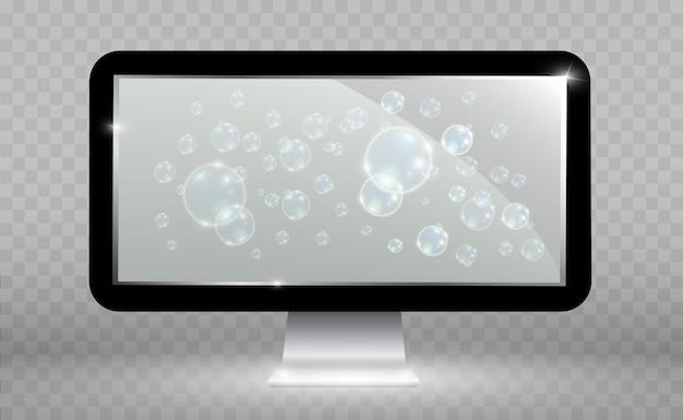 Realistyczny ekran telewizora. nowoczesny, stylowy panel lcd. duży wyświetlacz monitora komputerowego.