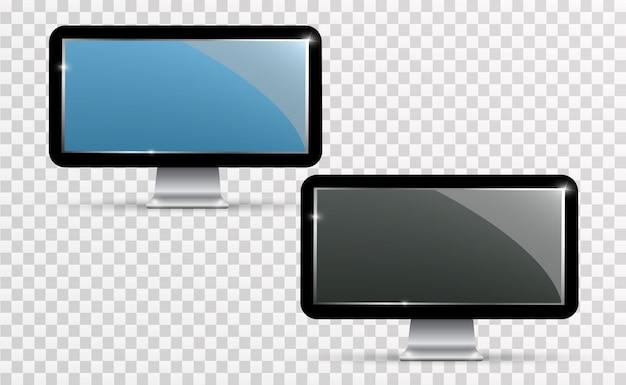 Realistyczny Ekran Telewizora Wektor. Nowoczesny, Stylowy Panel Lcd. Duży Wyświetlacz Monitora Komputerowego Premium Wektorów