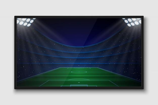 Realistyczny ekran telewizyjny. nowoczesny telewizor lcd z meczu piłki nożnej