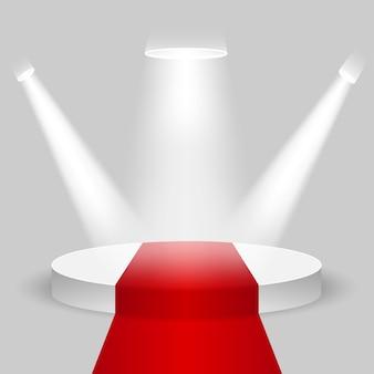 Realistyczny etap konkursu, puste białe podium z czerwonym dywanem, miejsce na lokowanie produktu do prezentacji, podium zwycięzcy lub scena na szarym tle