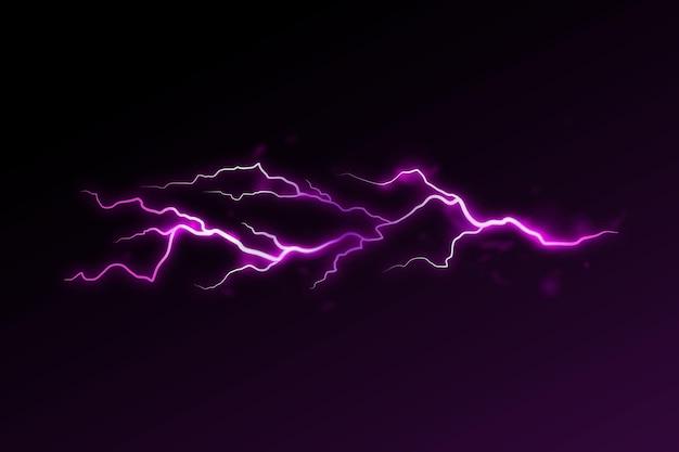 Realistyczny fioletowy efekt błyskawicy
