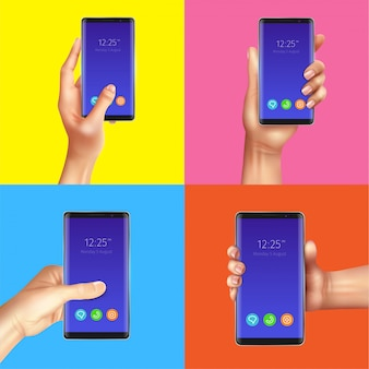 Realistyczny gadżetu projekta pojęcie z rękami trzyma czarnych mądrze telefony odizolowywał ilustrację