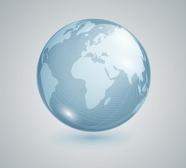 Realistyczny glob. szklana kula ziemska z mapą świata