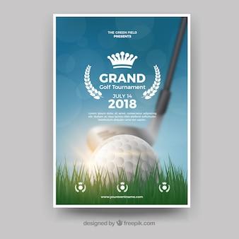 Realistyczny golf plakat szablon