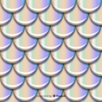 Realistyczny holograficzny syrenka ogon tło