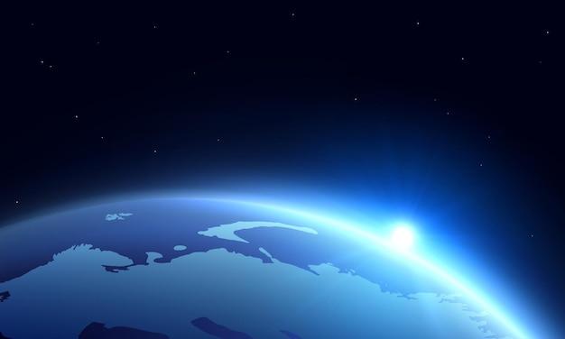 Realistyczny horyzont kuli ziemskiej ze wschodem lub zmierzchem w kosmosie.