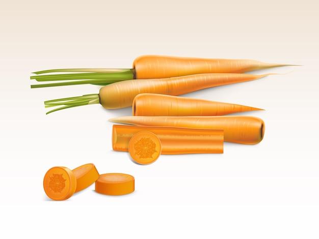 Realistyczny ilustracja pomarańczowy marchew, całe i pokrojone kawałki na białym tle.