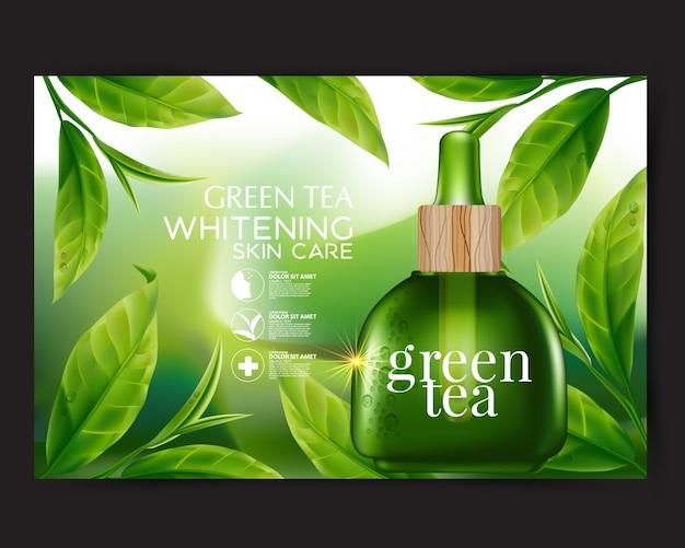 Realistyczny ilustracyjny kosmetyk ze składnikami kosmetyk do pielęgnacji skóry z zieloną herbatą