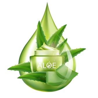 Realistyczny ilustracyjny kosmetyk ze składnikami kosmetyku do pielęgnacji skóry aloesu