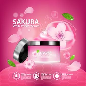 Realistyczny ilustracyjny kosmetyk ze składnikami kosmetyku do pielęgnacji skóry sakura cherry blossoms