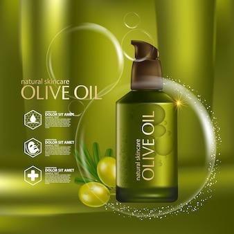 Realistyczny ilustracyjny kosmetyk ze składnikami kosmetyku do pielęgnacji skóry z oliwą z oliwek