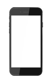 Realistyczny inteligentny telefon z pustym ekranem na białym tle