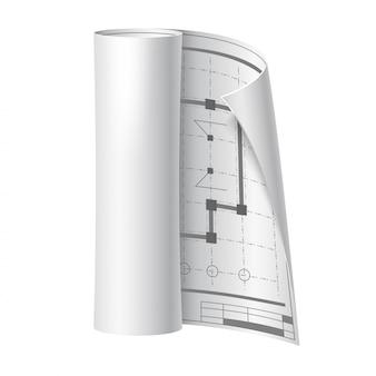 Realistyczny inżynier rysunek przewiń plan papieru