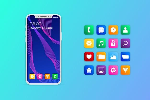 Realistyczny iphone z aplikacjami