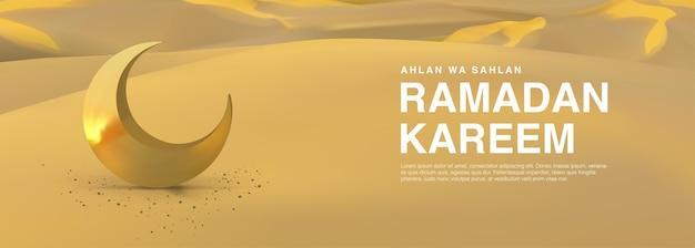 Realistyczny islamski szablon ramadan kareem z ilustracją półksiężyca na deserze wesołych świąt muzułmańskich eid mubarak