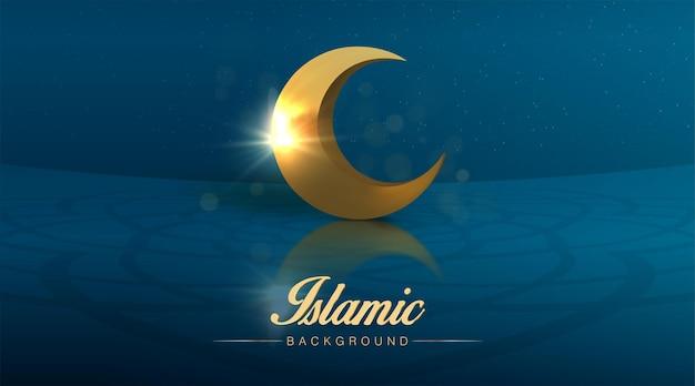 Realistyczny islamski szablon ramadan kareem z ilustracją półksiężyca wesołych świąt muzułmańskich eid mubarak
