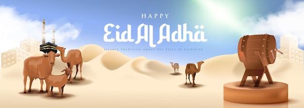 Realistyczny islamski sztandar eid al adha mubarak z pustynią i wielbłądem