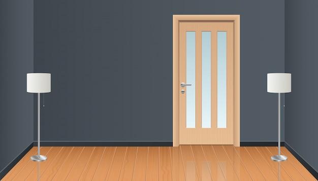 Realistyczny izbowy wnętrze z drewnianą podłogową ilustracją