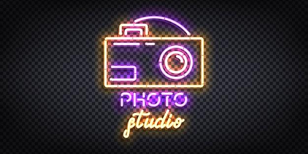 Realistyczny izolowany neon z logo photo studio.