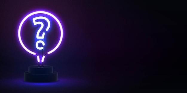 Realistyczny izolowany neon znak quizu z miejsca na kopię
