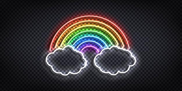 Realistyczny izolowany neon znak tęczy z chmurami